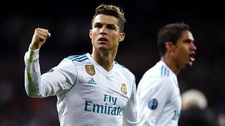 Selebrasi Cristiano Ronaldo usai cetak gol ke gawang Juventus lewat penalty. - INDOSPORT