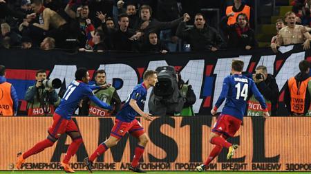 Selebrasi para pemain CSKA Moskow. - INDOSPORT
