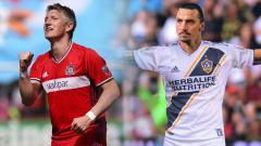 Indosport - Bastian Schweinsteiger dan Zlatan Ibrahimovic.
