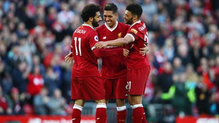 Mohamed Salah merayakan gol yang diciptakannnya ke gawang Bournemouth. - INDOSPORT