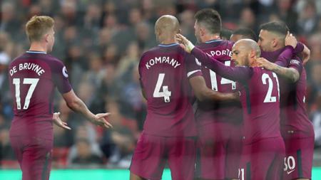 Man City merayakan kemenangan atas Tottenham Hotspur, - INDOSPORT
