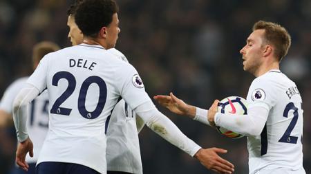 Christian Eriksen mencetak gol hiburan untuk Tottenham Hotspur karena harus takluk 3-1 dari Man City. - INDOSPORT