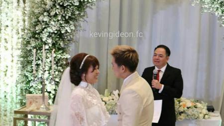 Acara pernikahan Marcus Gideon dan Agnes Amelinda Mulyadi. - INDOSPORT