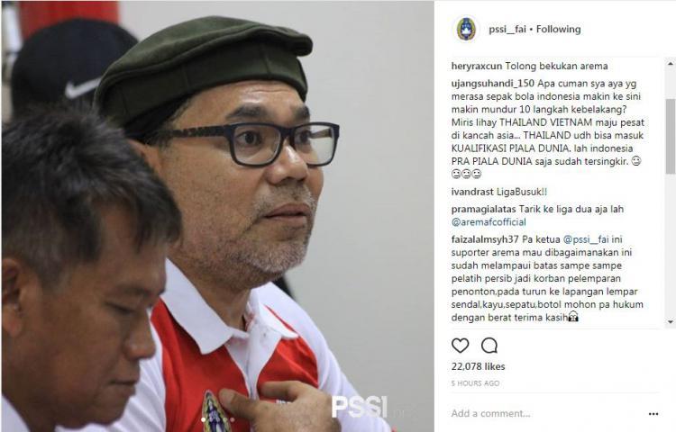 Netizen soal Arema vs Persib Copyright: instagram.com/pssi__fai