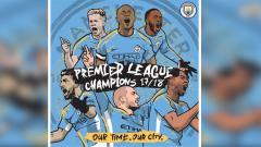 Indosport - Man City juara Liga Primer Inggris 2017/18.