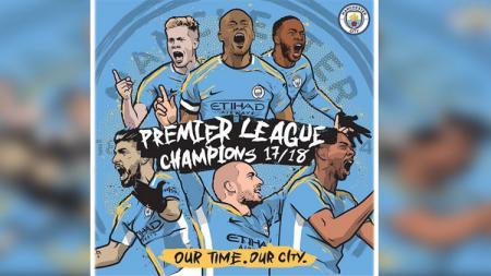 Man City juara Liga Primer Inggris 2017/18. - INDOSPORT