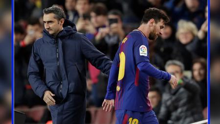 Ernesto Valverde dan Lionel Messi kabarnya berbeda pandangan soal calon pengganti Jordi Alba di Barcelona. - INDOSPORT