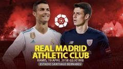 Indosport - Prediksi Real Madrid vs Athletic Bilbao.