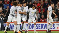 Indosport - Pemain Manchester United usai merayakan gol.