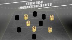 Indosport - Starting Line-Up Timnas Indonesia U-23 di FIFA 18 versi INDOSPORT.