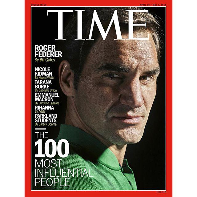 Roger Federer di sampul majalah TIME. Copyright: Instagram/TIME