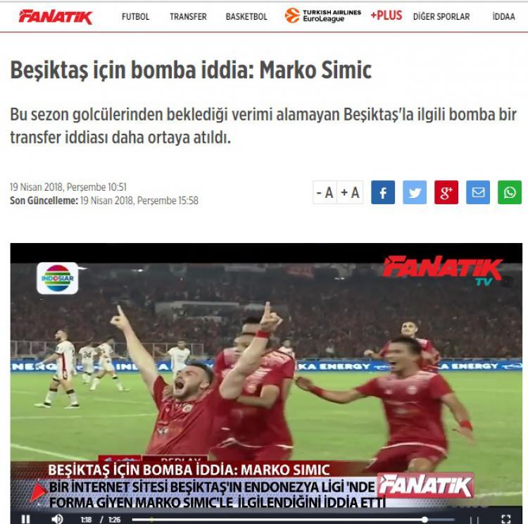 Marko Simic diberitakan media Turki. Copyright: fanatik.com