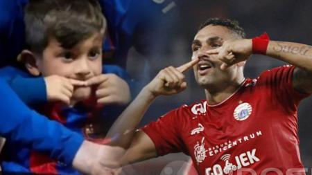Anak Lionel Messi tiru selebrasi Jaimerson da Silva. - INDOSPORT
