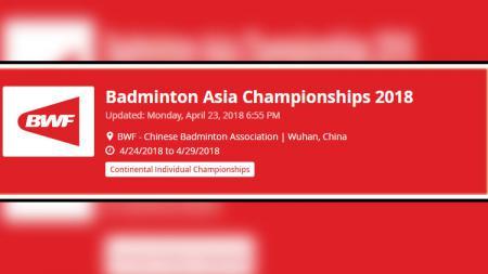 Logo Badminton Asia Championship 2018. - INDOSPORT