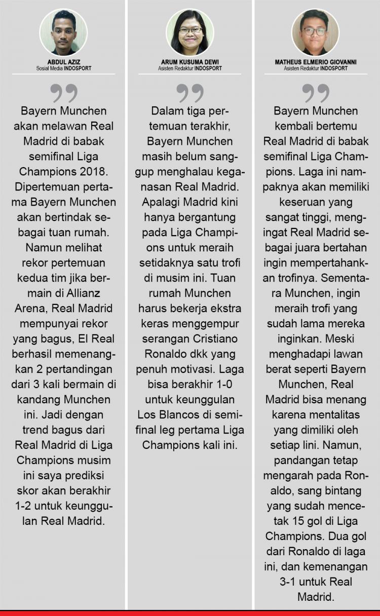 Komentar Prediksi Bayern Munchen vs Real Madrid Copyright: Indosport.com
