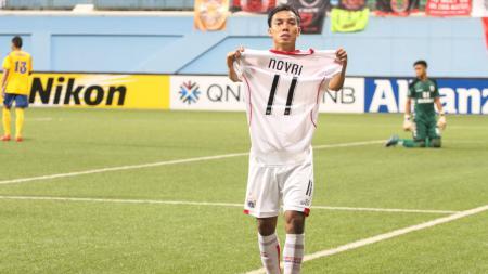 Novri Setiawan merayakan golnya ke gawang Tampines Rovers. - INDOSPORT