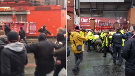 Serangan Fans AS Roma ke Fans Liverpool. - INDOSPORT