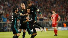 Indosport - Marcelo merayakan golnya ke gawang Bayern Munchen.