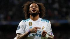 Indosport - Marcelo saat cetak gol ke gawang PSG.