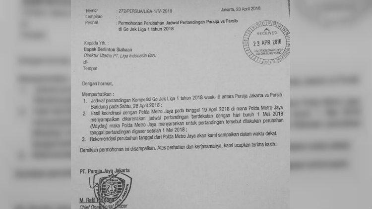 Surat pemberitahuan laga Persija vs Persib yang ditunda. Copyright: Istimewa