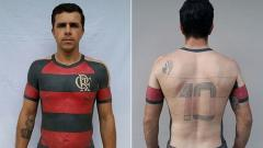 Indosport - Mauricio menato tubuhnya menjadi jersey Flamengo.
