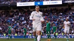 Indosport - Gareth Bale merayakan gol yang dicetaknya ke gawang Leganes.
