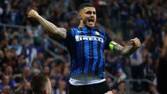 Indosport - Mauro Icardi berselebrasi usai mencetak gol ke gawang Juventus.