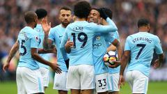 Indosport - Selebrasi para pemain Man City.