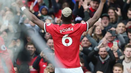 Paul Pogba berselebrasi setelah mencetak gol pembuka bagi Man United saat melawan Arsenal. - INDOSPORT