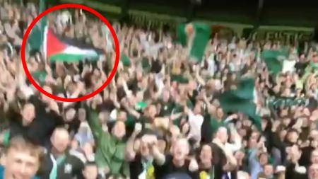 Bendera Palestina di perayaan juara Celtic. - INDOSPORT