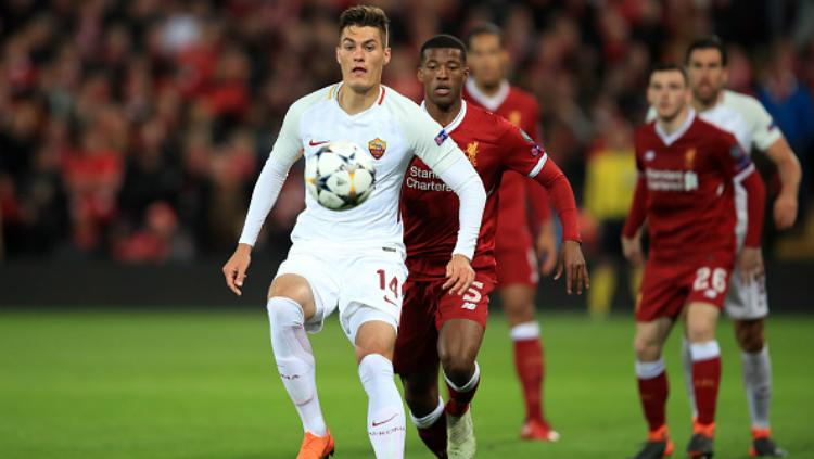 Patrik Schick dalam laga Liverpool vs AS Roma. Copyright: INDOSPORT