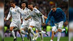 Indosport - Selebrasi para pemain Real Madrid.