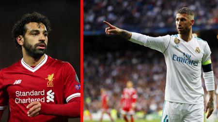 Mohamed Salah (kiri/striker Liverpool) dan Sergio Ramos (Bek tengah sekaligus kapten Real Madrid). - INDOSPORT