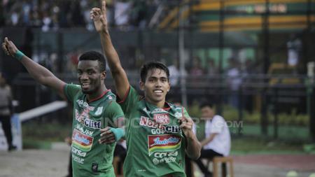 Selebrasi pemain PSMS Medan. - INDOSPORT
