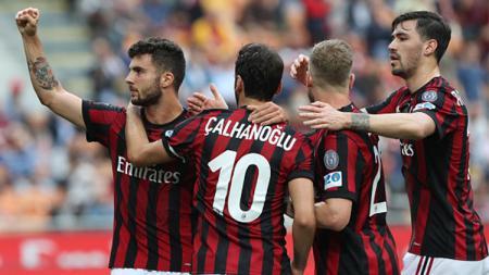 Selebrasi pemain AC Milan - INDOSPORT