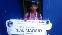 Indosport - Pemain Persira Rajeg, Ari Kurnia Restu yang terpilih ke Real Madrid dari Liga Nivea Men Topskor U-16 2018.