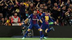 Indosport - Selebrasi dua pemain bintang klub Liga Spanyol, Barcelona, Lionel Messi dan Luis Suarez.