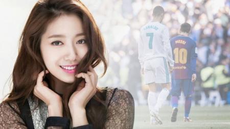 Aktris cantik Korea Selatan, Park Shin-hye, rupanya pernah jadi saksi pertandingan panas El Clasico antara Barcelona vs Real Madrid di Camp Nou dua tahun lalu. - INDOSPORT
