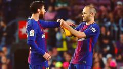 Indosport - Andres Iniesta dan Lionel Messi.