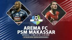 Indosport - Prediksi Arema FC vs PSM Makassar.