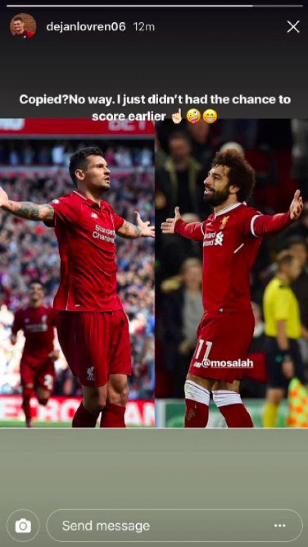 Dejan Lovren vs Mohamed Salah Copyright: Instagram