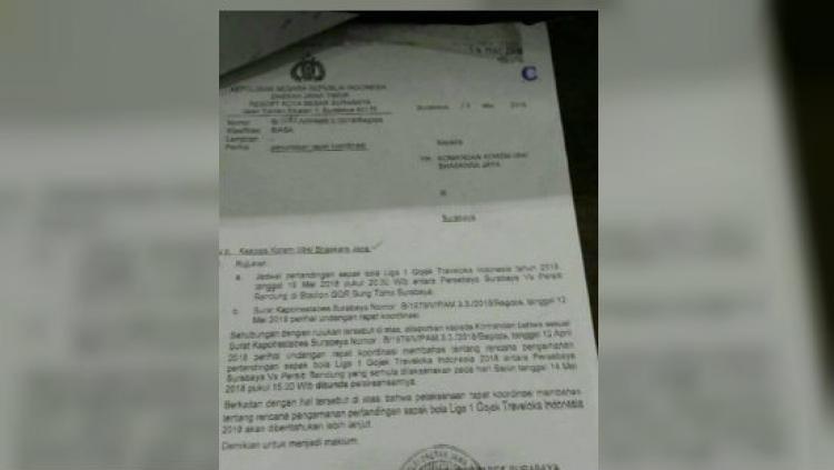 Surat rapat pengamanan laga Persebaya vs Persib yang terancam ditunda. Copyright: Istimewa