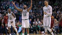Indosport - Selebrasi para pemain Boston Celtics usai menang atas Cleveland Cavaliers.