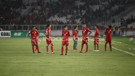 Para pemain Persija tampak tertunduk lesu setelah kalah dari Home United dan gagal ke final Piala AFC 2018 zona ASEAN.