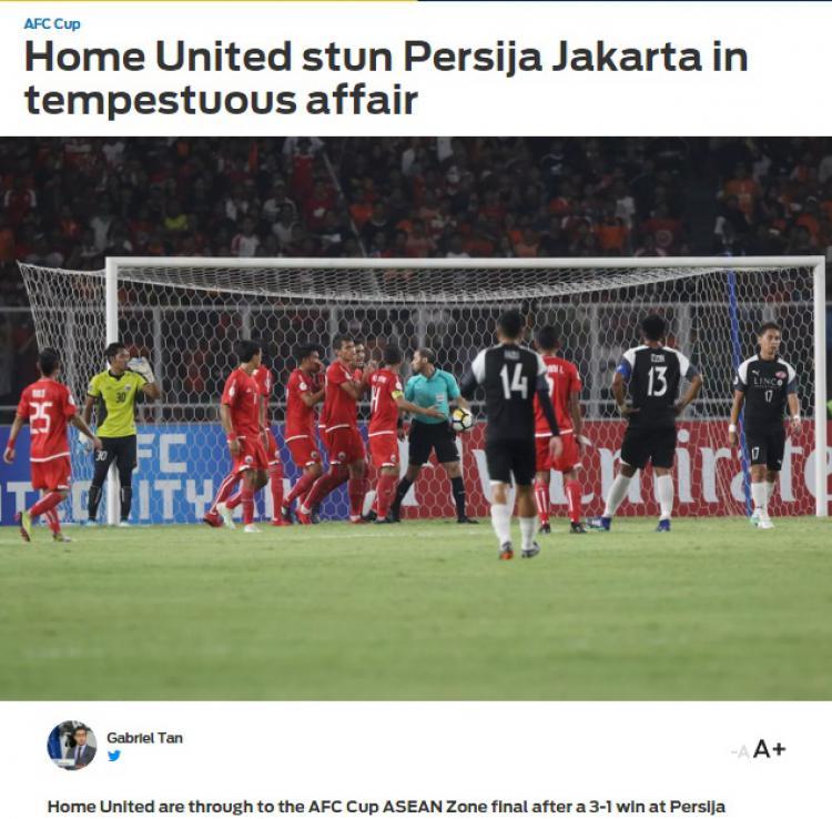 Pemberitaan media luar negeri terkait laga Persija vs Home United. Copyright: Foxsport/Twitter