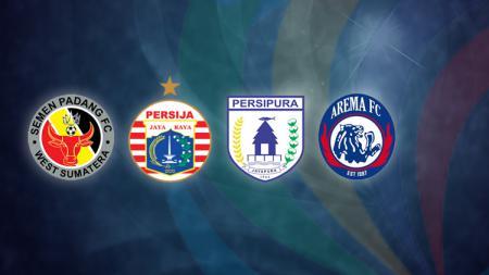 Semen Padang, Persija Jakarta, Persipura Jayapura, dan Arema FC. - INDOSPORT