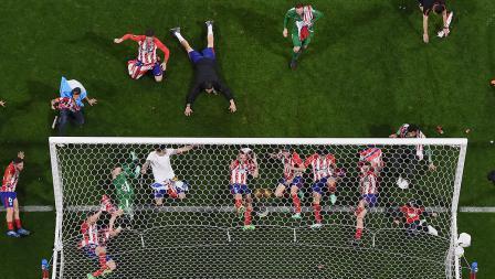 Aksi selebrasi tim Atletico Madrid juara Liga Europa.