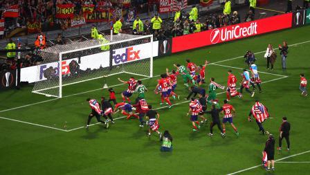 Aksi selebrasi tim Atletico Madrid keluar sebagai juara Liga Europa.