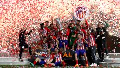 Indosport - Kemeriahan pemain Atletico Madrid keluar sebagai juara Liga Europa musim ini.