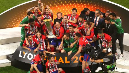 Potret kegembiraan Atletico Madrid juara Liga Europa musim ini.